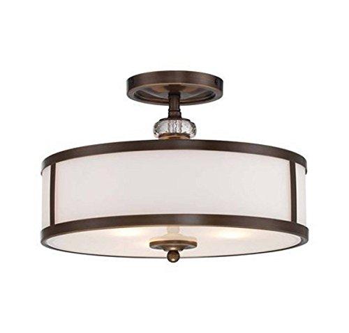 Round Ceiling Fixture - Minka Lavery Semi Flush Mount Ceiling Light 4942-570, Thorndale Round Glass Lighting Fixture, 3 Light, Bronze