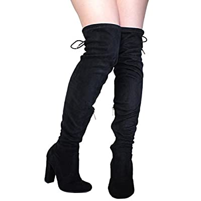 BAMBOO Women's Chunky Heel Over The Knee Stretch Boot