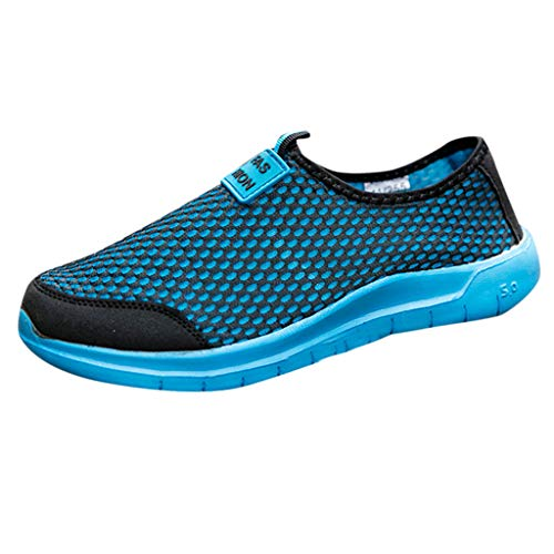 38 Carte 1 Light - Bralonees Pair of Mesh Fabric Slip-On Sneaker Leisure Lightweight Breathable Shoes Casual Running Fitness Non-Slip Sport Blue