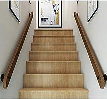 Pan&Pan Escalera de barandilla de Madera Industrial Soild con 2 Soportes de Hierro Forjado, Kits de barandillas Interiores para escaleras, barandilla de barandilla montada en la Pared, 100 cm: Amazon.es: Hogar