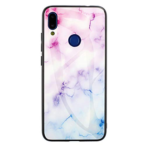 DAMONDY Redmi Note 7 Case,Marble Glitter Shockproof Tempered Glass Mirror Back Cover Protective Anti-Scratch Anti-Drop Rubber Hybrid Skin Silicone Shell Slim Case for Xiaomi Redmi Note 7-Purple Blue