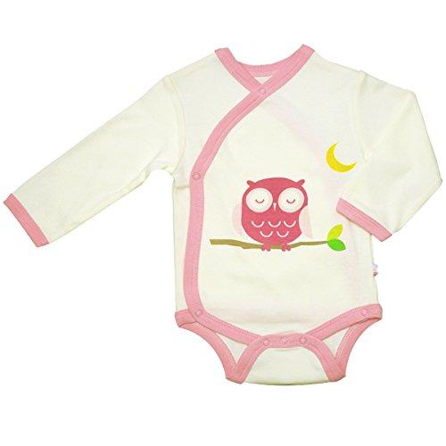 Babysoy Eco Organic Long Sleeve Kimono Bodysuit Owl/Pink 0-3 Months
