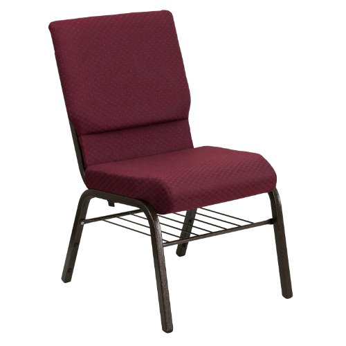 "18.5""W Church Chair in Burgundy Patterned Fabric with Book Rack – Gold Vein Frame"