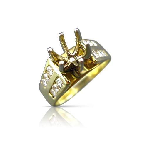 Milano Jewelers Wide .90CT Diamond 18K Two Tone Gold SEMI Mount Engagement Ring E/F 24159