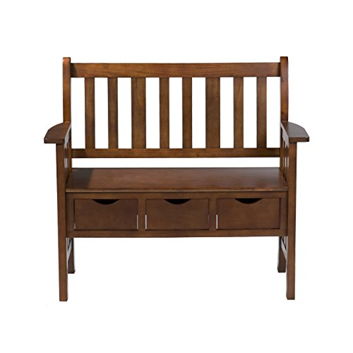 Bench Slat Back (Southern Enterprises 3-Drawer Storage Entryway Bench, Country Oak Finish)