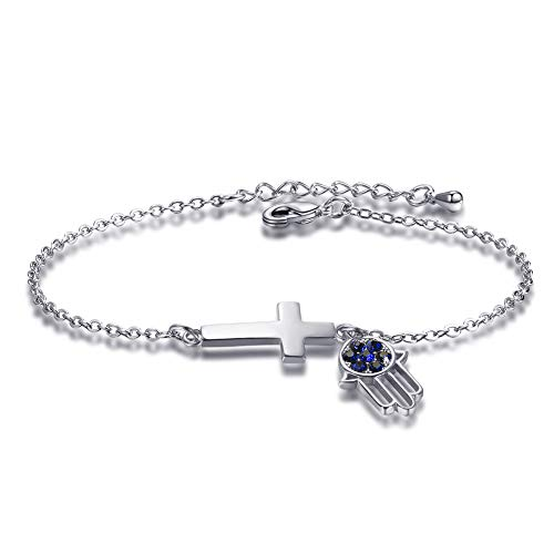Hamsa Hand & Cross Faith Bracelets Charm CZ Stone Evil Eye Anklet Adjustable for Women
