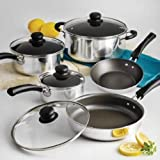 9-Piece Tramontina Simple Cooking Nonstick Cookware Set, Polished