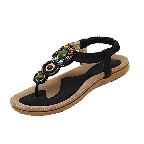 fereshte Women's Bohemian Beads Flip Flop Flat Dress Sandals Beach Thong Gladiator No.798 Black kuHfC8K