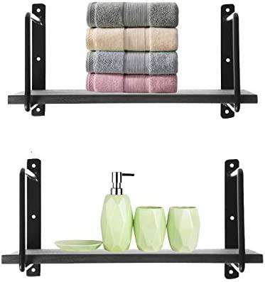 Amazon Com Riplz Home Wall Shelf Set Of 2 Gray Wood Shelves