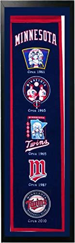 Encore Minnesota Twins Logo History Felt Banner - 14 x 37 Framed
