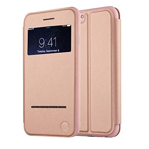 Window Flipper - Nouske iPhone 6/6S Smart Touch Case S-View Window Flip Cover/Magnetic Closure/Stand/TPU bumper/360 Protection, Rose Gold