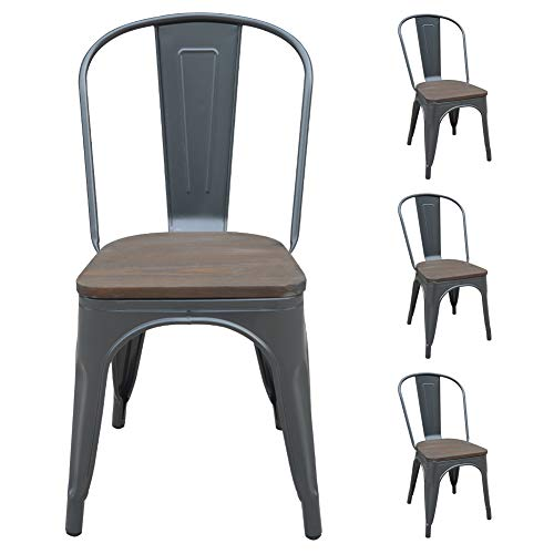H JINHUI Metal Dining Chairs with Wood Seat/Top, Stackable Indoor Outdoor Side Patio Trattoria Chairs Set of 4, Vintage Chic Style, Gray