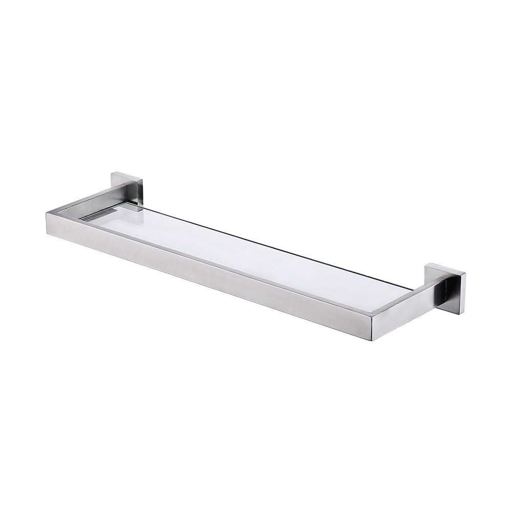 KES Glass Shelf Bathroom 20-Inch SUS 304 Stainless Steel and Extra Thick Tempered Glass Shower Shelving Contemporary Style Wall Mount Brushed Finish, A2521S20-2