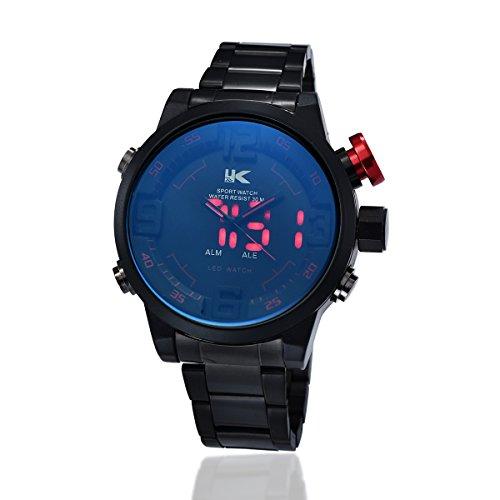 Yaki Neu Herren Sportuhren Herrenarmbanduhr Analoguhr mit Digitalanzeige Metallarmband Multifunktions-LED Display Alarm Wasserdicht Geschenk