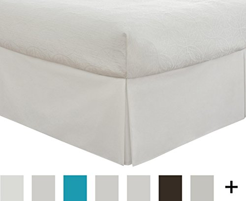 """Lux Hotel Bedding Tailored Bed Skirt, Classic 14"""" Drop Length, Pleated Styling, Full, White"""