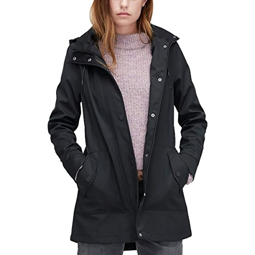 UGG Women's Trench Rain Jacket Black Large (Dress Ugg Womens)