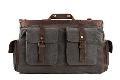 ROCKCOW Canvas Leather Travel Bag Briefcase Messenger Shoulder Bag Dufulle Bag