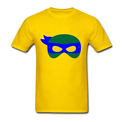 [Funny Quotes Men tmnt leo mask O-Neck Short Sleeve T-Shirt Yellow XS Costume] (Leo Johnson Costume)