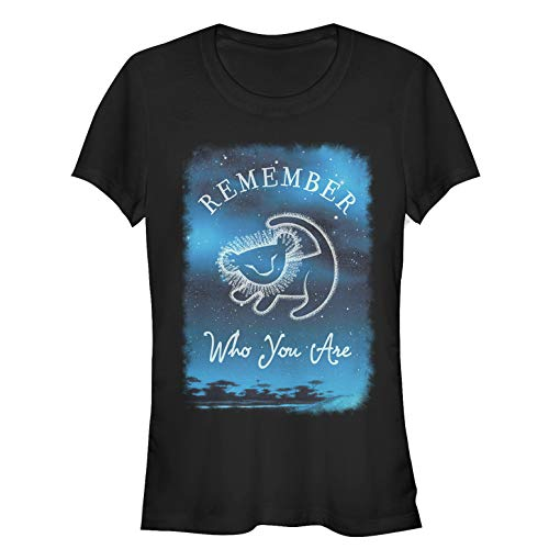 Lion King Juniors' Simba Remember Who You are Stars Black T-Shirt (Name Of Lion In Chronicles Of Narnia)