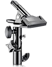 Neewer Photo Studio Reflector Holder Clamp Adapter with 5/8-inch Light Stand Attachment, Heavy Duty (Solid Metal, Black, 8 Packs)