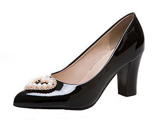 AllhqFashion Damen Ziehen auf Lackleder Spitz Zehe Mittler Absatz Lackleder auf Rein Pumps Schuhe Schwarz 58fe00