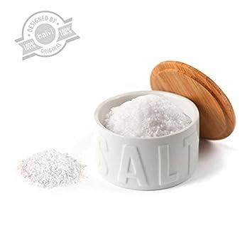 Balvi   bote para sal en escamas salt bambú/cerámica: amazon.es: hogar
