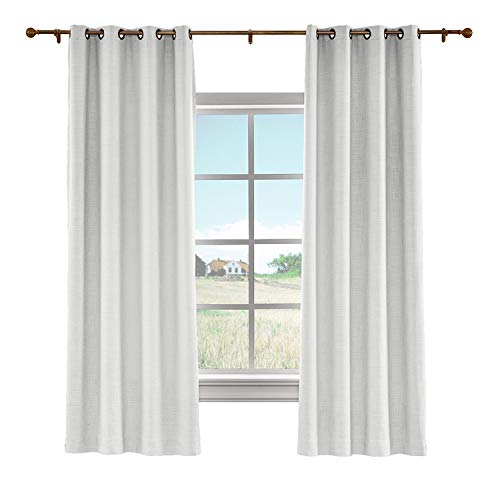 cololeaf Indoor Linen Textured Curtains Room Darkening Panels for Bedroom Blackout Drapes for Living Room Bedroom Family Room Dining Romm Kidroom Library,Beige White 100W x 96L Inch (1 Panel)