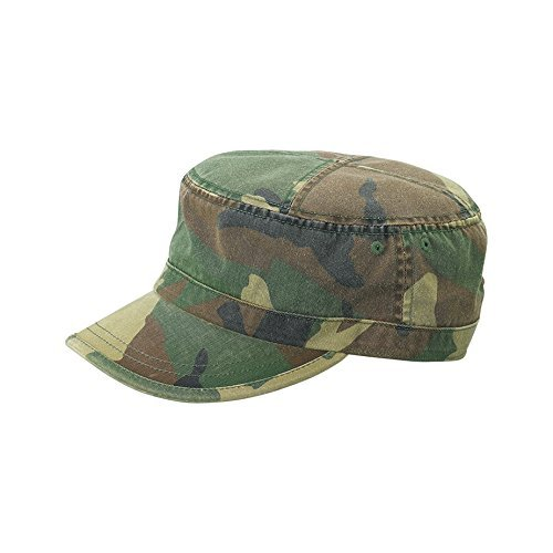 Wholesale Enzyme Washed Cotton Army Cadet Castro Hats (Camo) - 20767  One Size