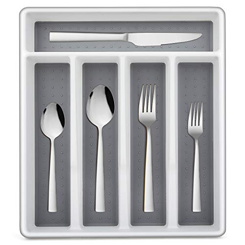 LIANYU 40-Piece Silverware Set with Tray, Stainless Steel Square Flatware Cutlery Set for 8, Tableware Eating Utensils…