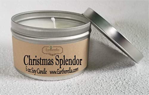 CHRISTMAS SPLENDOR Natural Soy Wax 6 oz. Tin Candle, long 40+ hour burn time, Christmas, apples, oak, cinnamon, pine