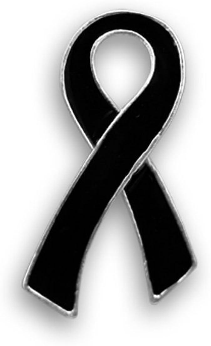 Melanoma remembrance lapel pins Sleep Disorders Mourning Narcolepsy Sleep Apnea Black awareness ribbon pins V2-911
