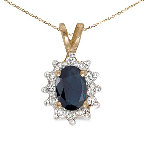 - 0.39 Carat (ctw) 14k Yellow Gold Oval Blue Sapphire and Diamond Women's Solitaire with Halo Pendant with 18