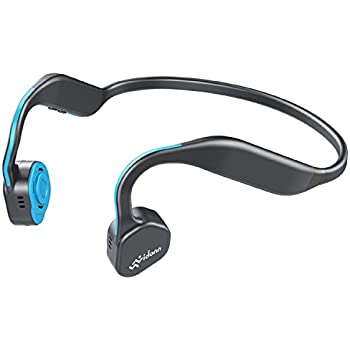 Vidonn F1 Titanium Wireless Bone Conduction Headphones, Open Ear Bluetooth Headset with Mic For Gym Running Workout 6 Hour Battery Noise Cancelling Earphones Sweatproof (Gray-blue)