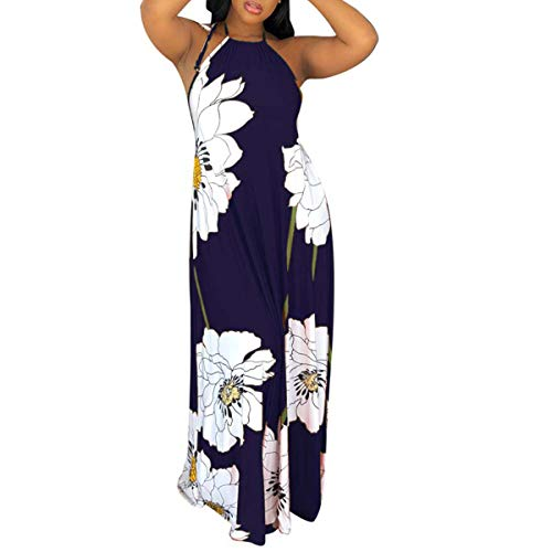 Womens Sun Dresses Beach Sleeveless - Sexy Halter Neck Vintage Floral Print Backless Party Summer Maxi Long Dress Blue ()