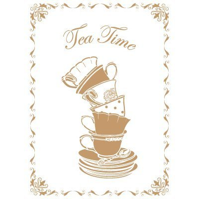 Stencil size: 20x30 cm 7,9x11,8 in Stencil Deco Vintage Composition 163 Tea Time Design size: 17,5x24,3 cm 6,9x9,6 in by TODO-STENCIL