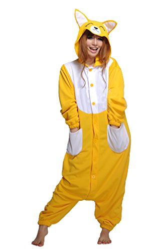 Honeystore Unisex Adult New Animal Cosplay Yellow Fox Costume Onesies Pajamas L - Fox Costume Canada
