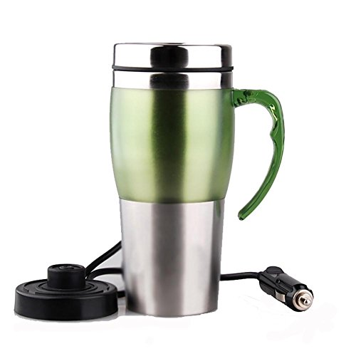 Qll Candy Ribbon Handle Car Electric Cup Outdoor Sports Travel Hot Cup Insulation Cup 400ML, light green, 12V ()