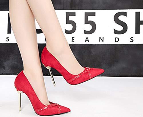 Haut Escarpin Pointue Rivets Coupe Rouge Aisun Talon Mode À Femme vn8w0C