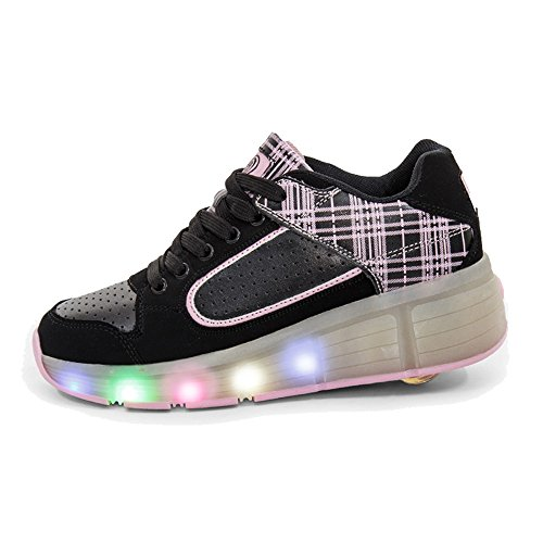 SDSPEED Kids LED Roller Skate Shoes with Single Wheel Shoes Sport Sneaker