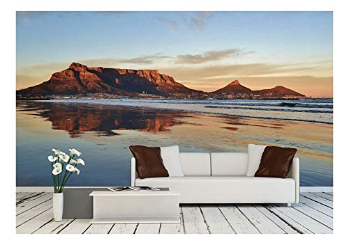 - wall26 - Landscape of Cape Town and Table Mountain at Sunrise - Removable Wall Mural   Self-Adhesive Large Wallpaper - 100x144 inches