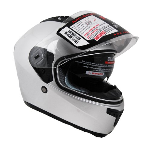 Stealth F117 Full Face Helmet (Silver, X-Large)