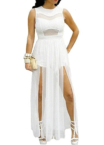 Red Dot Boutique 6630 - Plus Size Double Slits Lace Chiffon Jumpsuit Maxi Dress (3X, White) (White Dot Dress)