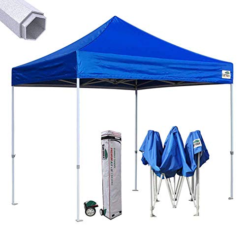 Eurmax 10 X1 0 Ez Pop up Canopy Instant Party Tent Ourdoor Fair Aluminum Foot Legs Commercial Grade Canopy Bonus Roller Bag (Blue)