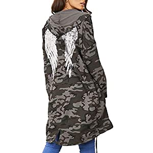 Envious Fashion Outlet New Womens Sequin Angel Wings Oversized Hoodie Sweatshirt Jacket Cardigan