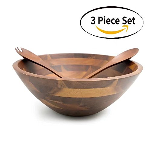 AIDEA Acacia Wooden Salad Bowl - 12.5-Inch Hardwood with Servers Set 3-Piece Set