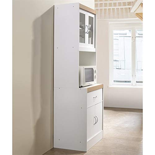Pemberly Row Tall 24'' Wide China Kitchen Cabinet with Microwave Storage in White by Pemberly Row (Image #3)