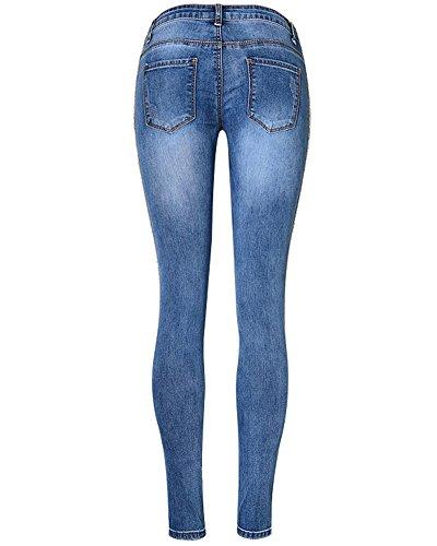 Elastico Leggings Donna Jeggings Leggins Stretch Blu Pantaloni Jeans Skinny Lungo rpIAqnp6wx