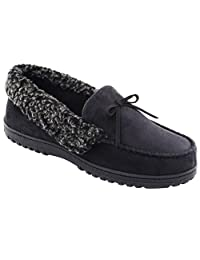 HomeIdeas Men's Faux Fur Lined Suede House Slippers, Cozy Indoor / Outdoor Moccasin Shoes With Arch Support
