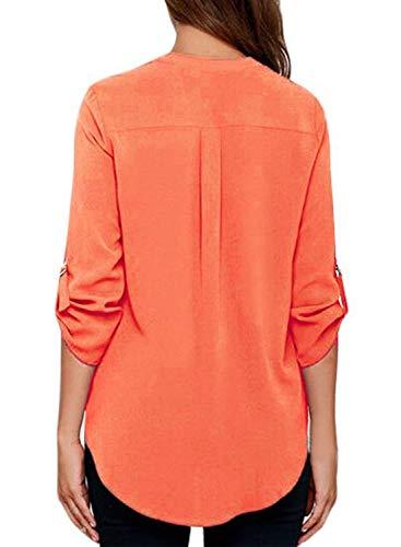Casual Bandage Femme Chemise Orange Classique Manche Cou Elgante Qualit Mousseline Fille Bonne De Blouse 4 Manches Uni Bouffant V Chemisiers Shirt 3 Irrgulier Top Mode Et HxqT747d