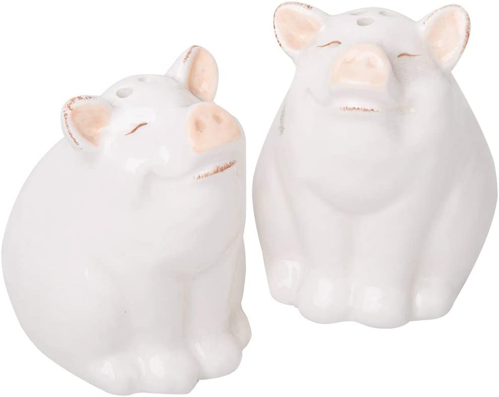 Home Essentials Pink Nose Pig Salt and Pepper, Set of 2